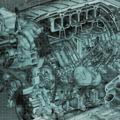 iCanvasART Engine Block Blueprint by Kane Canvas Print, US Made
