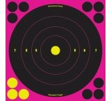 Birchwood Casey Shoot-N-C Pink Reactive Target 8 Inch Bullseye 6 Per Package 34808