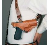 DeSantis Left Hand Tan New York Undercover Shoulder Holster w/ Double Mag Pouch 11DTB21G0