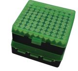 MTM P-100 Fliptop Box .45 ACP/10mm/.40 S&W/.41 AE Clear Green/Black P-100-45-16T