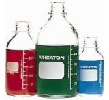 Wheaton Media Bottles, Graduated, Wheaton 219757 With Rubber-Lined Cap