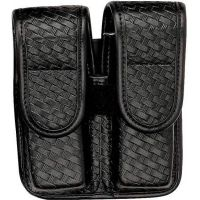 Bianchi 7902 Double Mag Pouch - Basket Black, Brass 22193