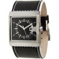 Black Dice Solo Series Mens Wrist Watch - Leather Strap, Date Display, Analog