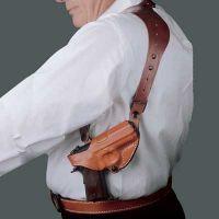 DeSantis Right Hand Tan C.E.O. Shoulder Holster 11ZTAF4Z0 - SIG P229 WITH EQUIPMENT RAIL