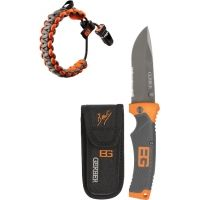 Gerber Bear Grylls Sheath Folder Knife & Survival Bracelet Set w/ Survival Guide