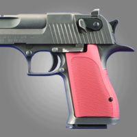 Hogue Desert Eagle Pistol Grip Checkered Aluminum - Red Anodized 03172