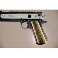 Hogue Govt. Aluminum Handgun Magrip Kit - Flames Arched Matte Green 01231