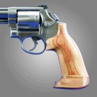 Hogue Dan Wesson Handgun Grip Large Frame Tulipwood No Finger Groove, Big Butt 58734