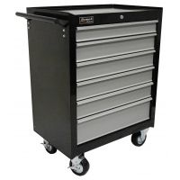 Homak 27in SE Series Rolling Cabinet w/ 6 Drawers, Black And Gray