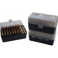 MTM Case-Gard 50 Rifle Ammo Boxes .222 & .222 Magnum Clear Green/Black RS-50-16T
