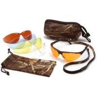 Pyramex Rendezvous Ducks Unlimited Shooting Glasses - Black Frame, Amber, Bronze, Blue, and Clear Lenses DUCLAM1