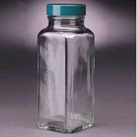 Qorpak French Square Bottles, Wide Mouth, Qorpak 7901 With Fluoropolymer Resin-Lined Green Thermoset Cap