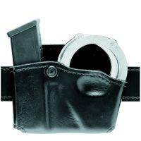 Safariland 573 Concealment Magazine Holder, Paddle, Single w/Cuff Pouch - Plain Cordovan, Ambidextrous 573-83-062