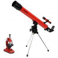 Tasco 50x50 Refractor Telescope Microscope Combo Red 49TN w/ Microscope Specimen Slides, Microscope Tools & Tabletop Tripod