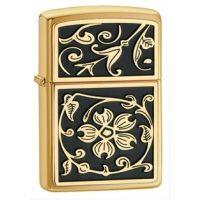 Zippo Gold Flourish Classic Style Lighter, Brushed Brass