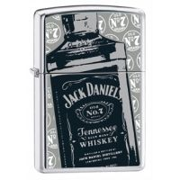 Zippo Jack Daniels High Polish Chrome Classic Style Lighter & Pouch Gift Set