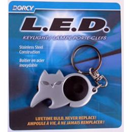 Dorcy LED Stainless Steel Keychain - Asst Designs - Cat