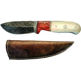 Titan Damascus Fixed Blade Knife, Pekka Wood & Camel Bone TD