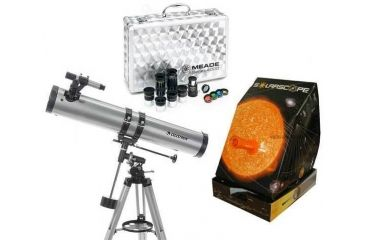 3-PC Sky Adventure Astronomy Gift Package - Celestron PowerSeeker 114 EQ Astronomical Telescope 21045, Meade 1.25'' Eyepiece and Filter Kit 07169, Solarscope Standard Solar Scope 04P101