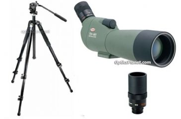 3-PC High Performance Bird Watching Gift Package - Kowa 60mm Spotting Scope TSN-600 Series 601, Kowa Interchangeable 20-60x Zoom Eyepiece TSE-Z9B, Bogen Manfrotto 055MFV Carbon Fiber Tripod and Fluid Head Kit
