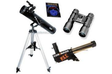 4-PC Ultimate Science Gift Package - Coronado 40mm-400mm Personal Solar Telescope PST, Bushnell 3 in Telescope 789669, Celestron Sky Maps 93722, Tasco Essentials 16x32 FRP Compact Binoculars ES1632