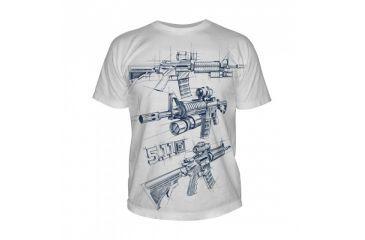 5.11 Tactical Logo T Shirt Sleeve Ar Sketch, White, L 41006CD-010-L