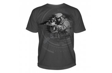 5.11 Tactical Logo T Shirt Sleeve Night Vision, Charcoal, M 41006CE-018-M