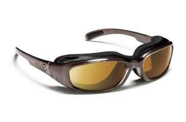 7eye 164442 Churada Single Vision Sunglasses Airshield Brown Crystal Frames