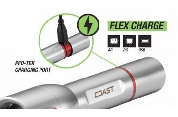 Coast A22R Rechargeable Focusing LED Flashlight, Silver 19697