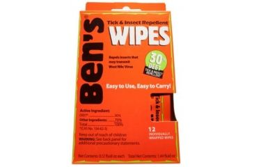 Bens 30 Insectand Tick Repellent DEET Wipes 12/Box 0006-7085