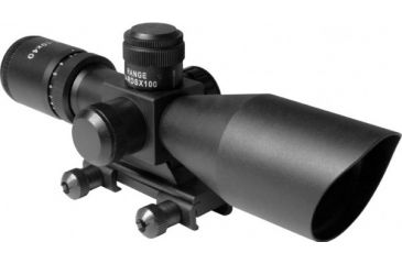 AIM Sports Inc 2.5-10x40 Dual Illuminated Rifle Scope w/Cut Sunshade/Rangefinder Reticle/Picatinny Mount JTSDR251040G-N