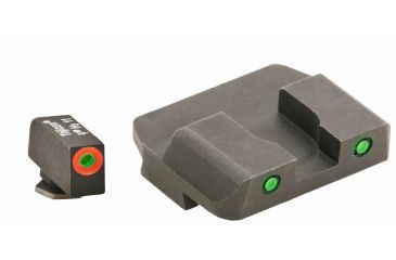 AmeriGlo Tritium Front Tritium Rear Glock 20,21,29,30,31,32,36 ProGlo, Orange Circle Front and Pro Op Rear, Green GL-448