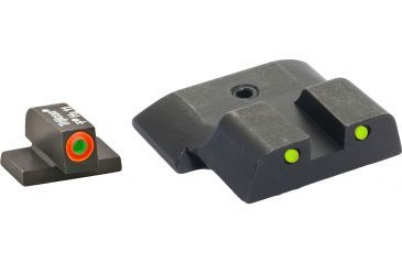 AmeriGlo Tritium Front and Rear Sights All M&P Models, except Shield, Operator 3 Dot night Sight set Green ProGlo Front, Orange Outline and yellow Rear w Black Outlines SW-447