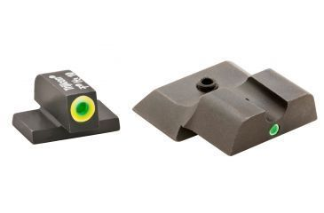 AmeriGlo Tritium Front and Rear Sights MP Shield 2 Dot night Sight set ProGlo Front with LumiLime Outline, GRN single Dot Rear SW-345