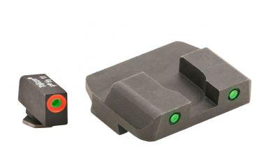 AmeriGlo Tritium Front Tritium Rear Glock 17,19,22,23,24,26,27,33,34,35,37,38,39 ProGlo, Orange Circle Front and Pro Op Rear, Green GL-446