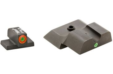 AmeriGlo Tritium Front and Rear Sights M&P Shield 2 Dot night Sight set ProGlo Front with Orange Outline, Green single Dot Rear SW-245