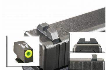 AmeriGlo Tritium Front Tritium Rear Glock 20,21,29,30,31,32,36 ProGlo Circle, LumiLime Front with Black Claw Rear GL-445