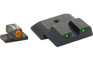 AmeriGlo Tritium Front and Rear Sights All M&P Models, except Shield, Operator 3 Dot night Sight set Green ProGlo Front, Orange Outline and Green Rear w Black Outlines SW-446