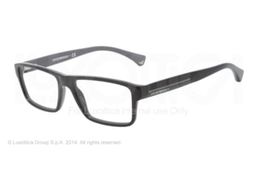 Armani EA3013 Single Vision Prescription Eyeglasses 5102-52 - Top Black On Gray Frame