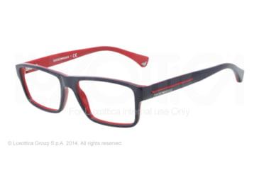 Armani EA3013 Single Vision Prescription Eyeglasses 5103-52 - Top Blue On Red Frame