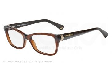 Armani EA3023F Progressive Prescription Eyeglasses 5198-54 - Transparen Brown Frame