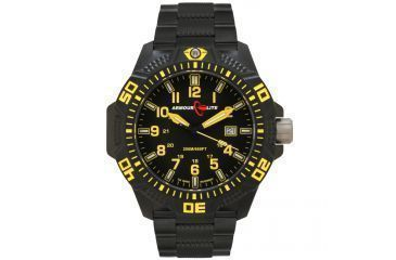 Armourlite Caliber Series Yellow Watch With PVD Band, Black/Yellow, Small AL624