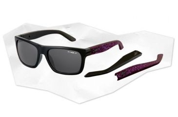 Arnette Dropout Sunglasses - Gloss Black/Fuzzy inked Purple Frame and Polarized Grey Lens AN4176-01