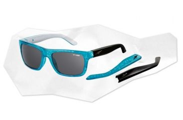 Arnette Dropout Sunglasses - Inked Aqua With Silver Inside / Gloss Black Frame and Grey Lens AN4176-05