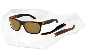 Arnette Dropout Sunglasses - Translucent Amber w/ Black Film Front/Amber Tortoise Frame and Polarized Brown Lens AN4176-07