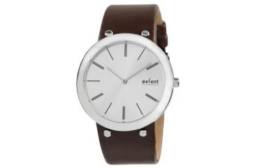 Axcent Slick Watch, Brown Strap, Silver Face, Silver Hands X58001-636