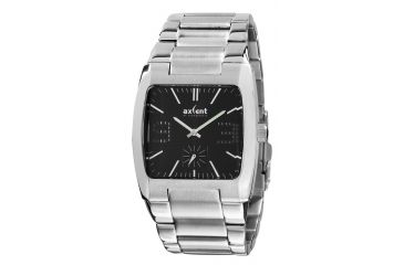 Axcent Square Watch, Silver Bracelet, Black Face, Silver Hands X62054-232