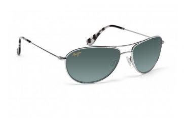 Maui Jim Baby Beach Sunglasses w/ Silver Frame and Neutral Grey Lenses - GS245-17, Quarter View