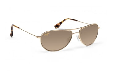 Maui Jim Baby Beach Sunglasses w/ Gold Frame and HCL Bronze Lenses - HS245-16, Quarter View