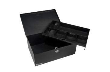 Barska 12in. Cash Box, 6 Compartment Coin Tray, Key Lock, Lifted Drawer CB11792